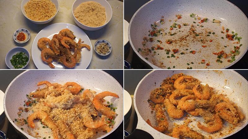 Bước 4: Làm tôm rang muối hồng kông