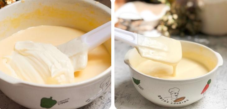 Cho kem whipping vào hỗn hợp trứng đã đánh bông, trộn đều