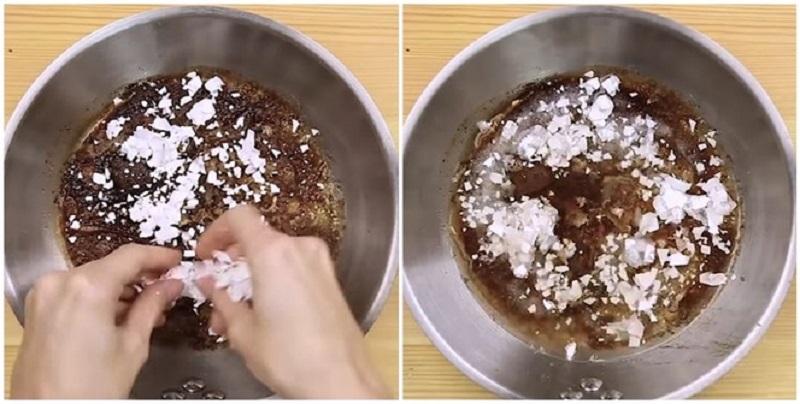 Vỏ trứng giúp làm sạch chảo cháy
