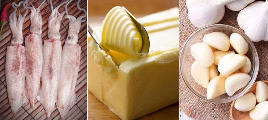 Nguyên liệu làm món mực chiên bơ tỏi