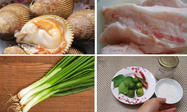 Nguyên liệu món ăn sò dương nướng mỡ hành
