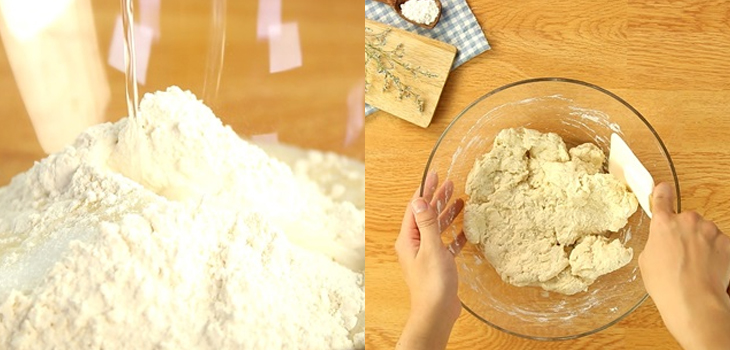 Cho bơ vào và nhồi bột để các nguyên liệu trộn đều