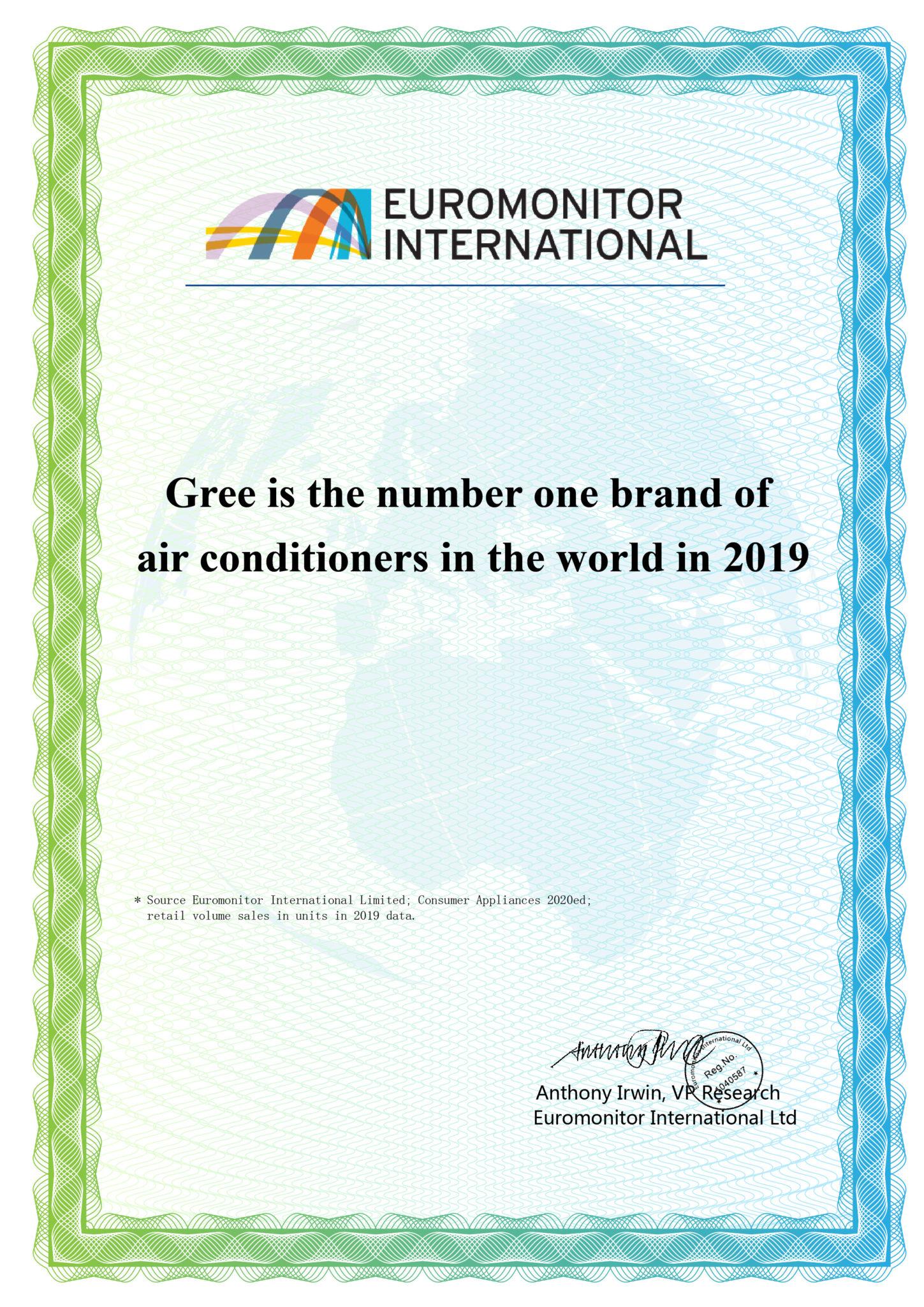"""Chứng nhận Gree """"Thương hiệu điều hòa số 1 thế giới""""."""