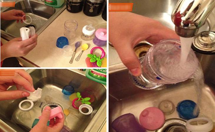 Trước khi tiệt trùng bình sữa mẹ nên tháo rời các bộ phận của bình sữa