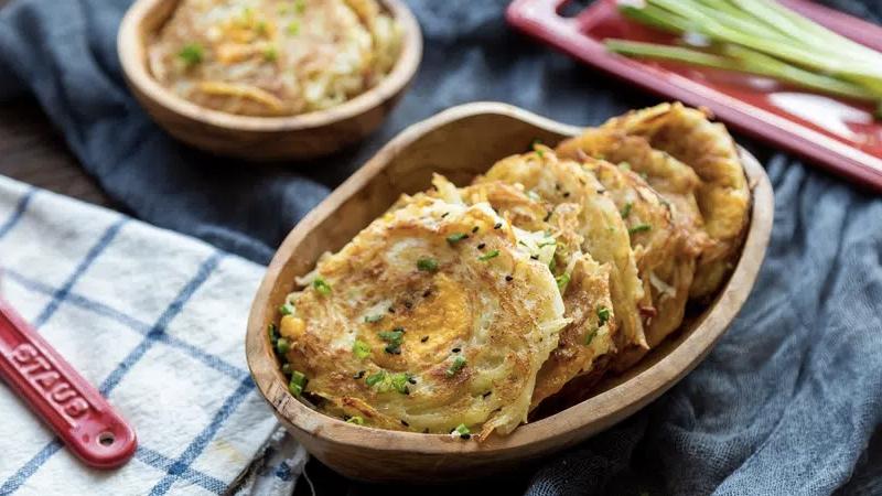 Thành phẩm món bánh khoai tây trứng