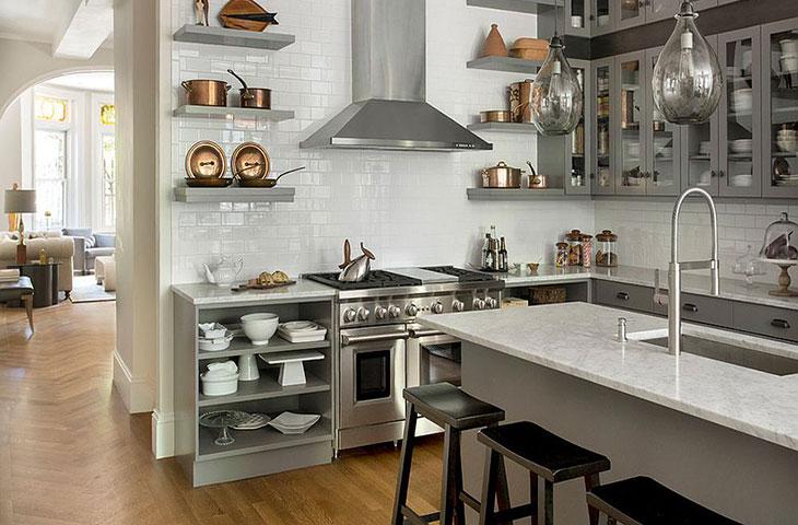 Trang trí nhà bếp bằng các tông màu dịu mát