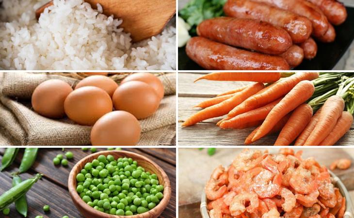 Nguyên liệu món ăn cơm chiên dương châu