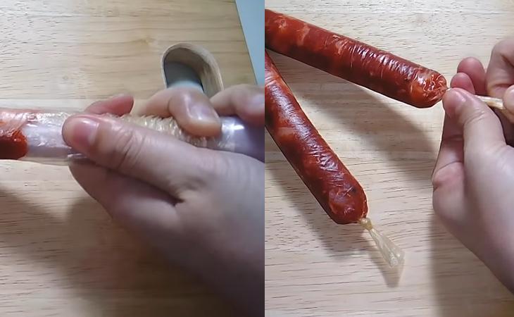 Bước 3 Dồn thịt mỡ Lạp xưởng mai quế lộ