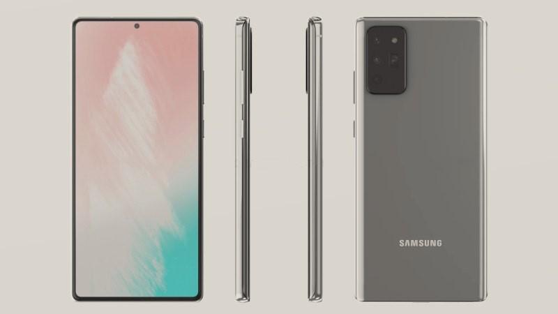 Ảnh render tổng quan thiết kế của Samsung Galaxy Note 20, màn hình lớn và dàn camera sau hầm hố tương tự S20 Ultra