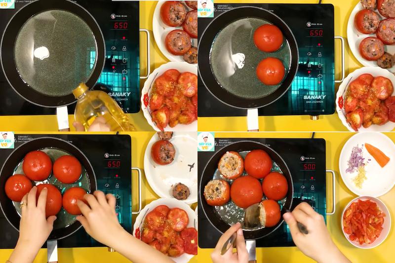 Chiên cà chua nhồi thịt