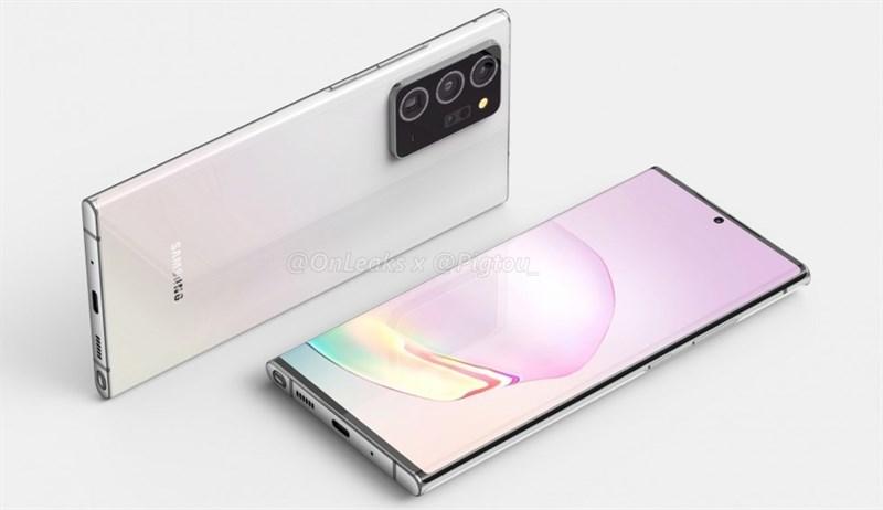 Galaxy Note 20+ lần đầu lộ ảnh render sắc nét, màn hình cong nhẹ nhàng, cụm camera sau trông hầm hố quá