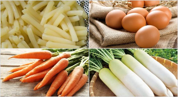 Nguyên liệu món ăn 2 cách làm nui chiên trứng