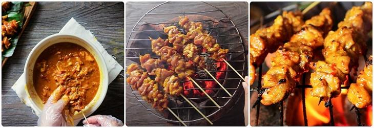 Bước 3 Nướng thịt Thịt xiên nướng cà ri