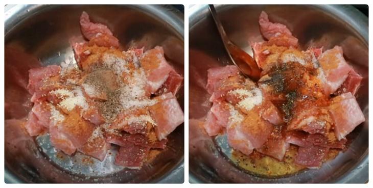 Bước 1 Sơ chế và ướp thịt bò Thịt xiên nướng rau củ