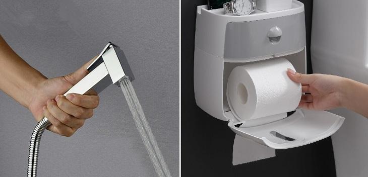Nên dùng giấy hay vòi xịt sau khi đi vệ sinh?