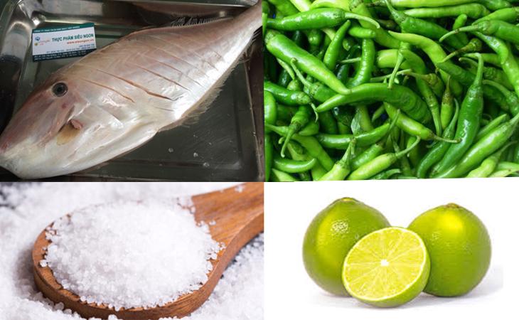 Nguyên liệu món ăn cá bò da nướng muối ớt xanh