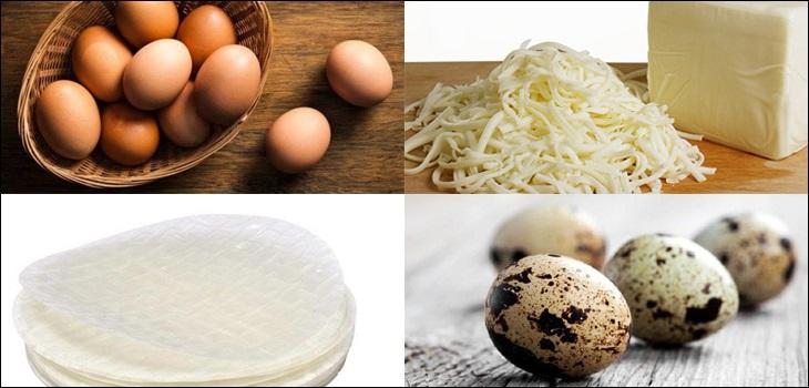 Nguyên liệu món ăn 2 cách làm bánh tráng nướng pate và phô mai thơm ngon, giòn rụm