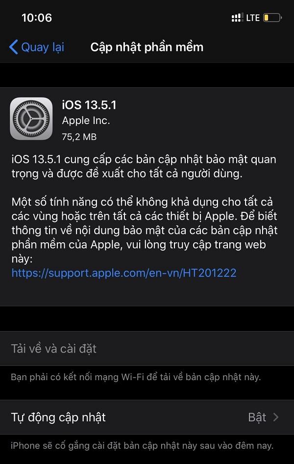 Apple bất ngờ tung bản cập nhật iOS 13.5.1 và iPadOS 13.5.1, fix lỗ hổng bẻ khóa 'unc0ver'