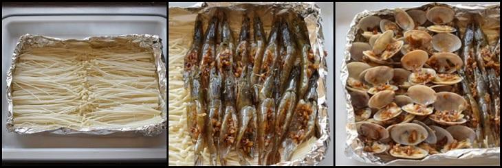 Bước 4 Nướng nấm Nấm nướng giấy bạc hải sản