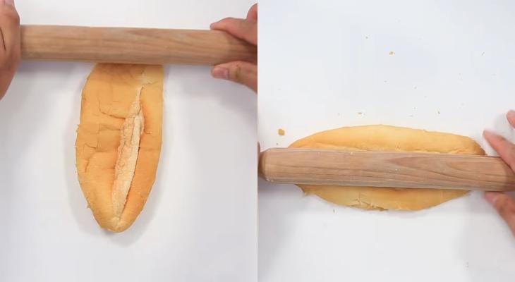 Bước 2 Cán bánh mì Bánh mì bơ nướng mật ong