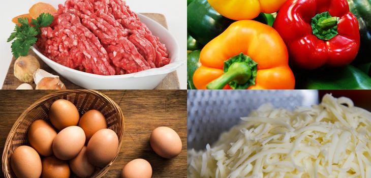 Nguyên liệu món ăn ớtt nhồi thịt phô mai nướng