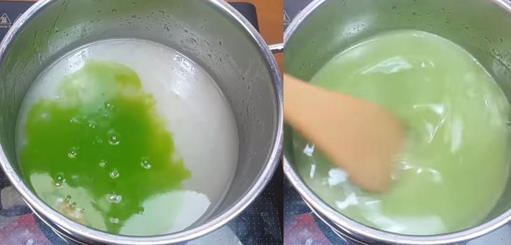 Bước 2 Nấu nước cốt dừa Bánh bò lá dứa