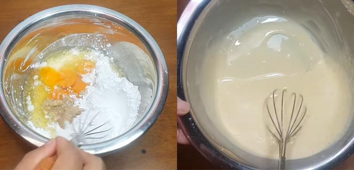 Bước 3 Pha bột Bánh bò lá dứa