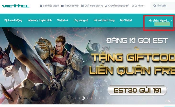 Bước 1: Vào trang chủ Viettel: vietteltelecom.vn