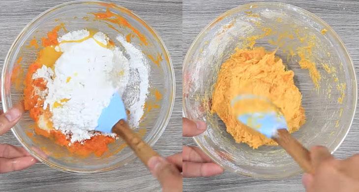 Bước 3 Trộn bột bánh Bánh bí đỏ chiên xù
