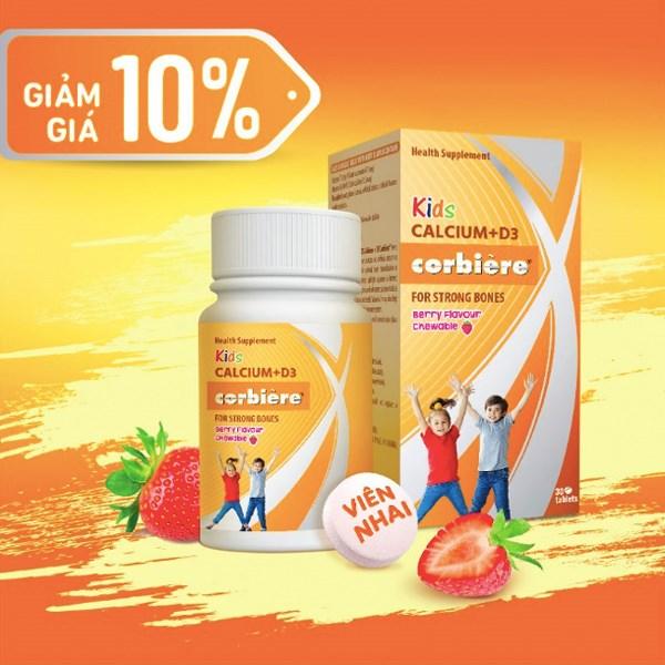 Giảm 10% Viên nhai bổ sung canxi cho bé Kids Calcium D3 Corbiere 30 viên