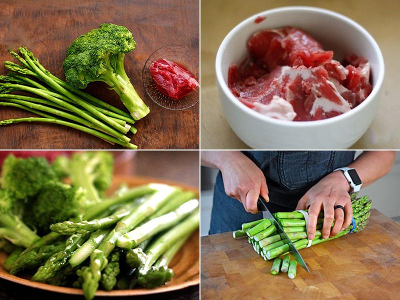 Sơ chế nguyên liệu làm măng tây xào thịt bò