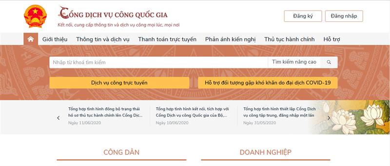 Giao diện chính của trang web