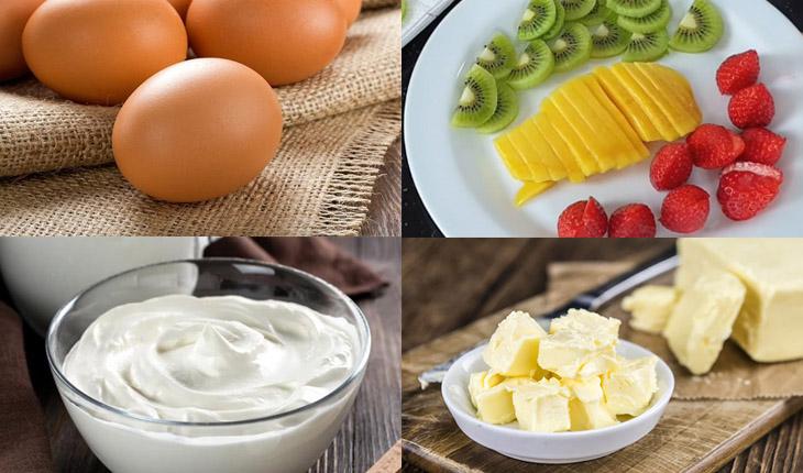 Nguyên liệu món ăn bánh kem trái cây