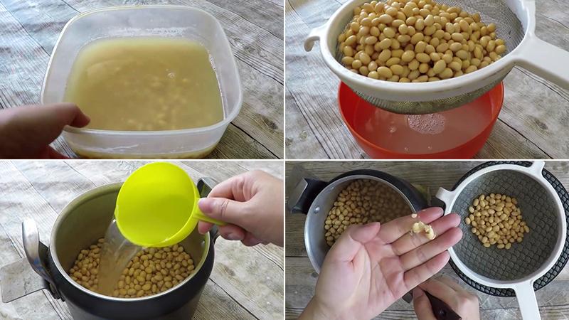 Ngâm đậu tương làm natto