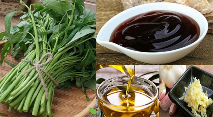 Nguyên liệu món ăn nước sốt xào rau muống