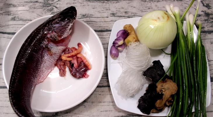 Nguyên liệu món ăn cá lóc hấp hành và cá lóc hấp sả