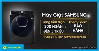 Mua máy giặt Samsung, có cơ hội trúng tủ lạnh Samsung 20.9 triệu