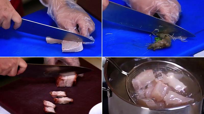 Sơ chế nguyên liệu bún nước lèo