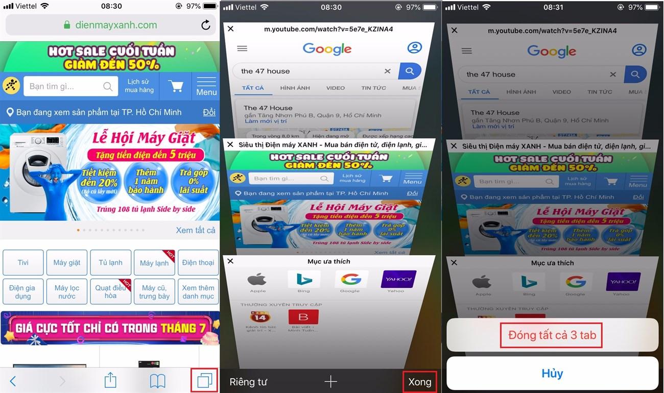 Đóng toàn bộ tab trên Safari với một cú click