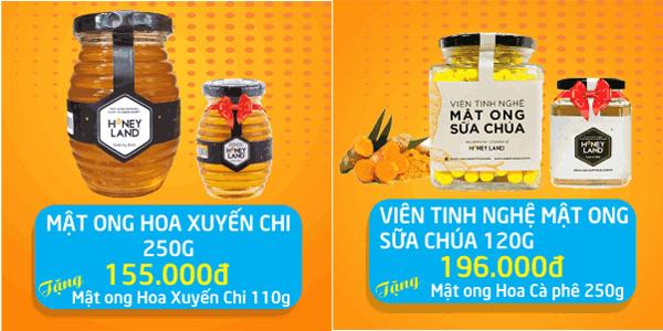Mua sản phẩm Tinh bột nghệ hoặc Mật ong sẽ được tặng thêm 1 phần quà hấp dẫn