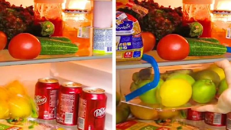 Dùng móc phơi đồ cũ để tăng hộc đựng trong tủ lạnh