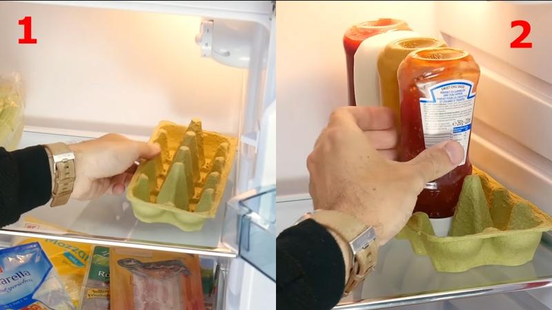 Cố định chai lọ trong tủ lạnh bằng khay đựng trứng