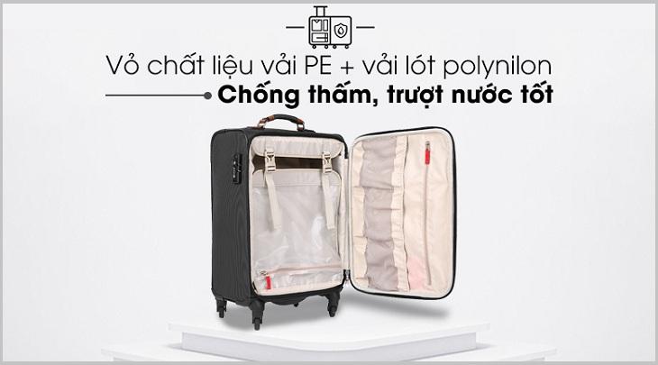 Vali có chất liệu vải cao cấp, trượt nước tốt, chống thâm hiệu quả