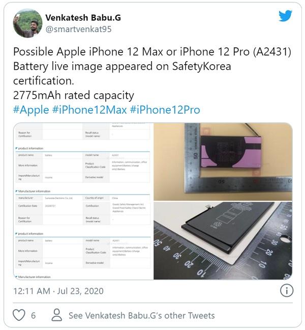 iPhone 12 Max và iPhone 12 Pro sẽ có viên pin với cùng dung lượng.
