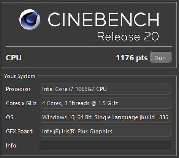 Đo hiệu năng Dell XPS 13 9300 bằng Cinebench