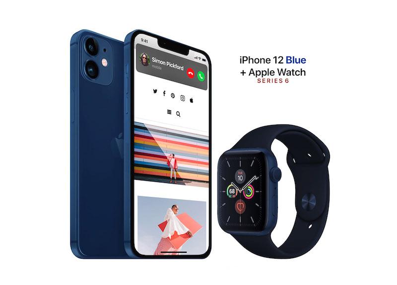 iPhone 12 Max và Apple Watch Series 6 concep màu xanh navy