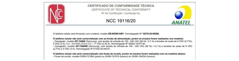 Mẫu giấy phép của nhà mạng Anatel khẳng định S21 Series sẽ không có củ sạc