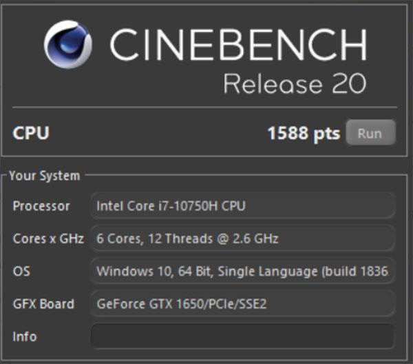 Đo hiệu năng của Lenovo Legion 5 bằng Cinebench
