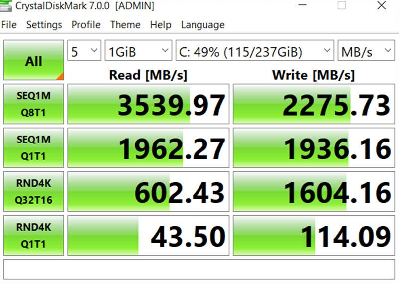 Đo tốc độ đọc ghi của ổ cứng Lenovo Legion 5