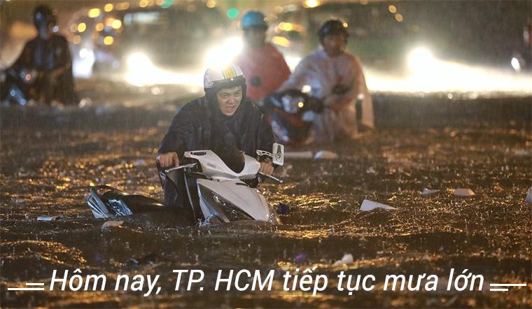 Chiều tối nay TP. Hồ Chí Minh và các tỉnh nam bộ tiếp tực mưa lớn
